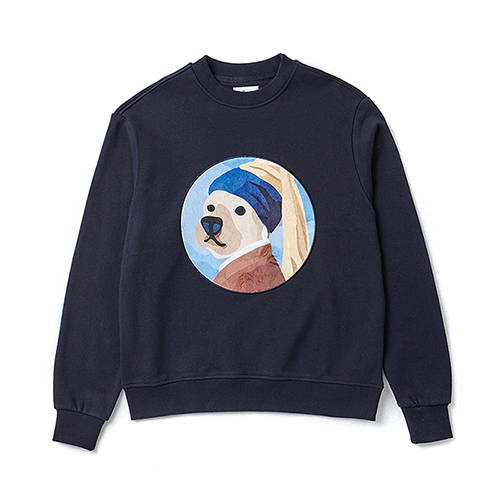 PEARL EARRING DOG PATCH SWEAT-SHIRTS NAVY