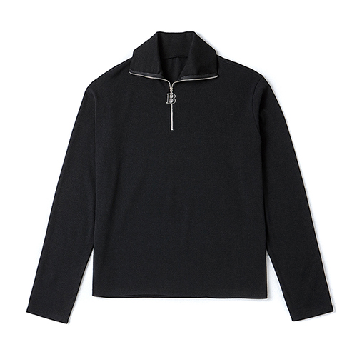 LOGO MEDAL HALF ZIP-UP KNIT BLACK
