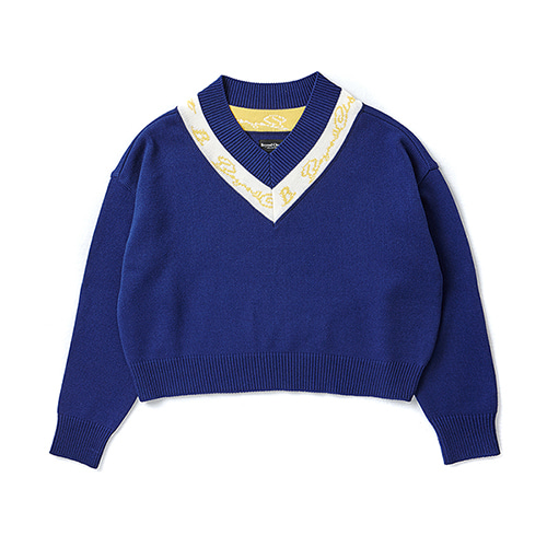 [COLLECTION LINE]LINE POINT LOGO CROP KNIT BLUE