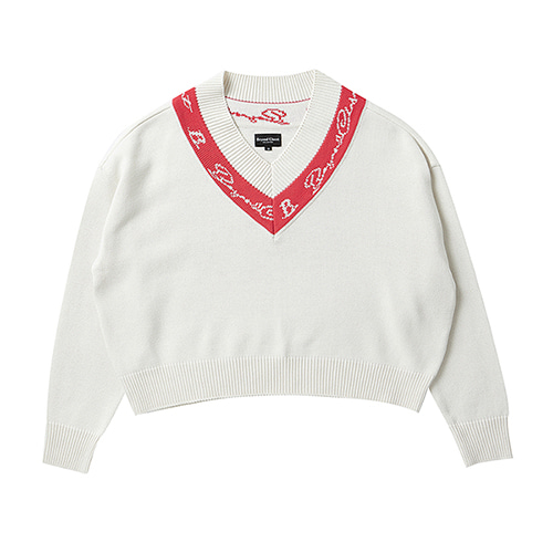 [COLLECTION LINE]LINE POINT LOGO CROP KNIT CREAM