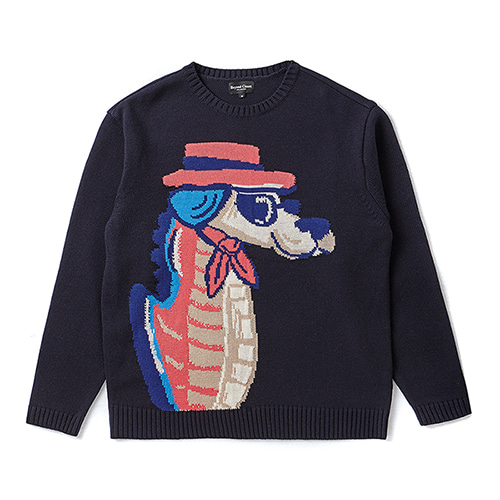 [COLLECTION LINE]SEAHORSE DOG KNIT NAVY