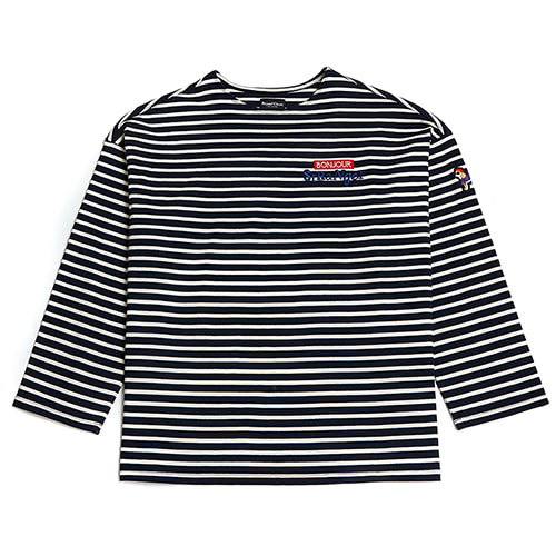 [COLLECTION LINE]BONJOUR STRIPE LONG SLEEVE T-SHIRTS NAVY