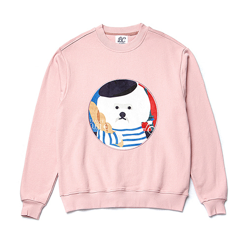 FRANCE DOG PATCH SWEAT-SHIRTS PINK