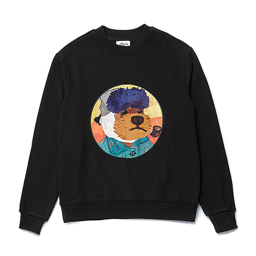 VINCENT DOG PATCH SWEAT-SHIRTS BLACK