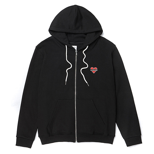 NOMANTIC LOGO ZIP-UP HOOD T-SHIRTS BLACK