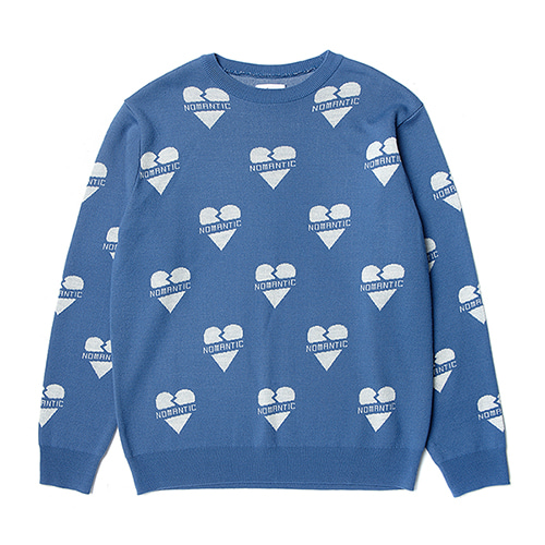 NOMANTIC HEART PATTERN KNIT BLUE