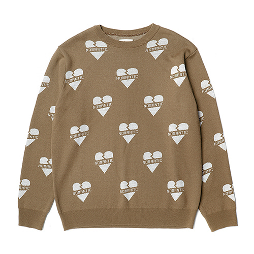 NOMANTIC HEART PATTERN KNIT BEIGE