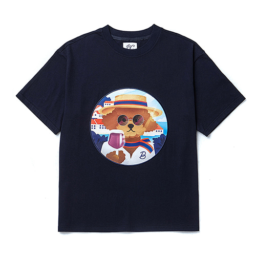 BONJOUR DOG PATCH 1/2 T-SHIRTS NAVY