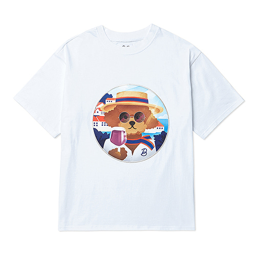 [6/22출고]BONJOUR DOG PATCH 1/2 T-SHIRTS WHITE