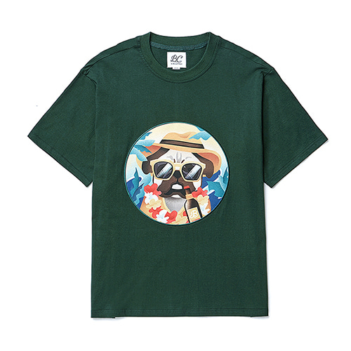 ALOHA DOG PATCH 1/2 T-SHIRTS GREEN