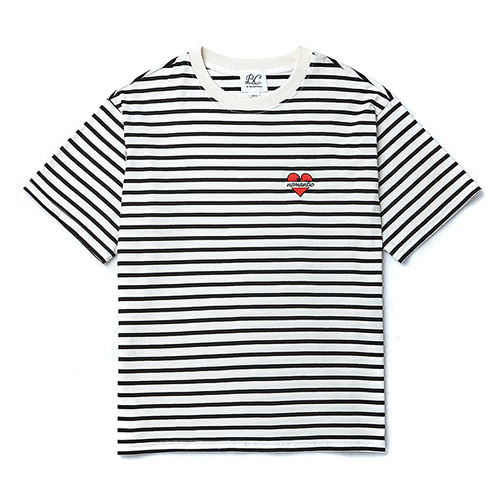NOMANTIC LOGO BASIC STRIPE 1/2 T-SHIRTS WHITE
