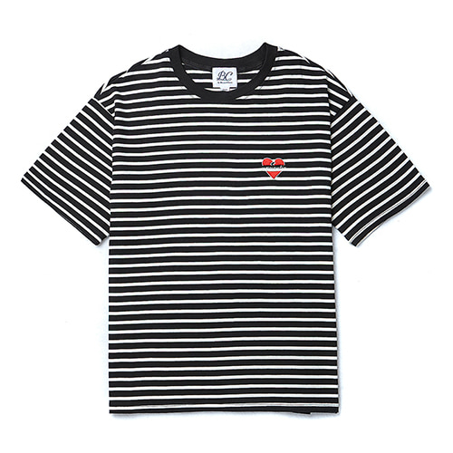 NOMANTIC LOGO BASIC STRIPE 1/2 T-SHIRTS BLACK