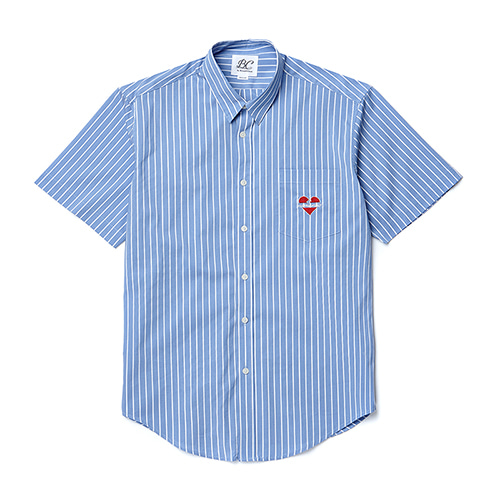 NOMANTIC LOGO STRIPE 1/2 SHIRTS BLUE
