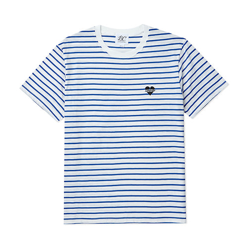 [BLACK EDITION]NOMANTIC LOGO STRIPE 1/2 T-SHIRTS BLUE