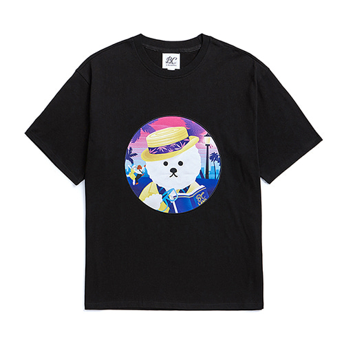 LALA DOG PATCH 1/2 T-SHIRTS BLACK