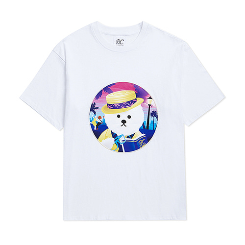 LALA DOG PATCH 1/2 T-SHIRTS WHITE