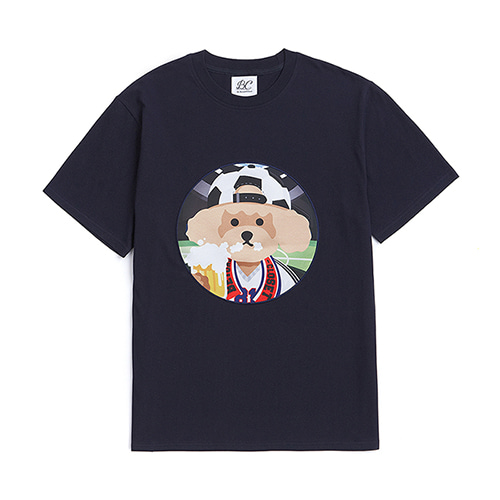 [WORLD CUP EDITION]SOCCER DOG PATCH 1/2 T-SHIRTS NAVY