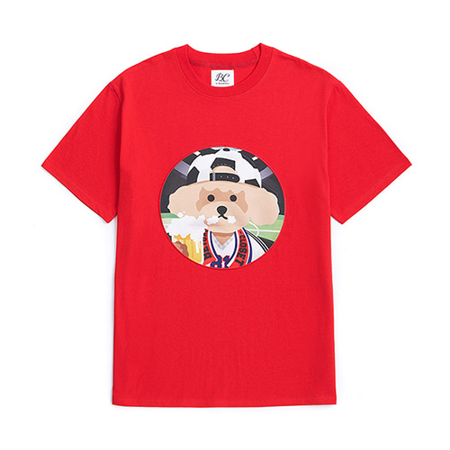 [WORLD CUP EDITION]SOCCER DOG PATCH 1/2 T-SHIRTS RED