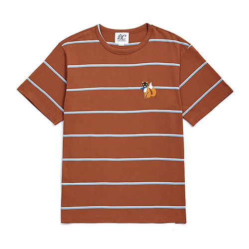 [COLLECTION LINE]BEAUTIFUL STRIPE 1/2 T-SHIRTS CAMEL