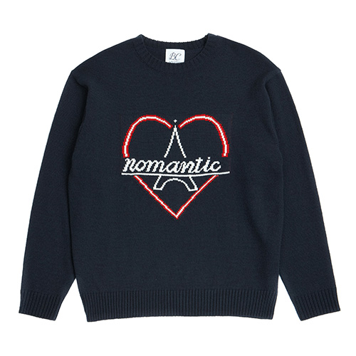 [PARIS EDITION]NOMANTIC BONJOUR LOGO KNIT NAVY