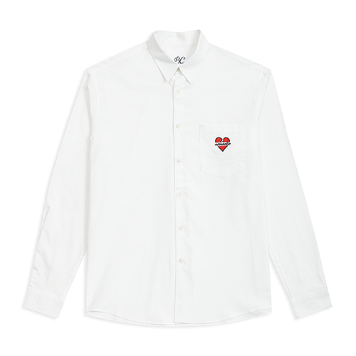 [ONLINE EXCLUSIVE]NOMANTIC POCKET LOGO OXFORD SHIRTS WHITE