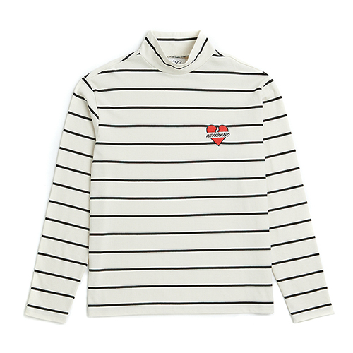 [ONLINE EXCLUSIVE]NOMANTIC STRIPE HALF TURTLE-NECK T-SHIRTS IVORY