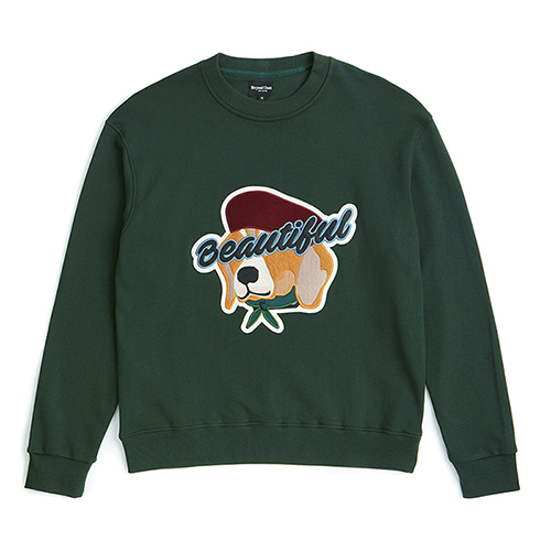 [COLLECTION LINE]BEAUTIFUL DOG APPLIQUE SWEAT-SHIRTS GREEN