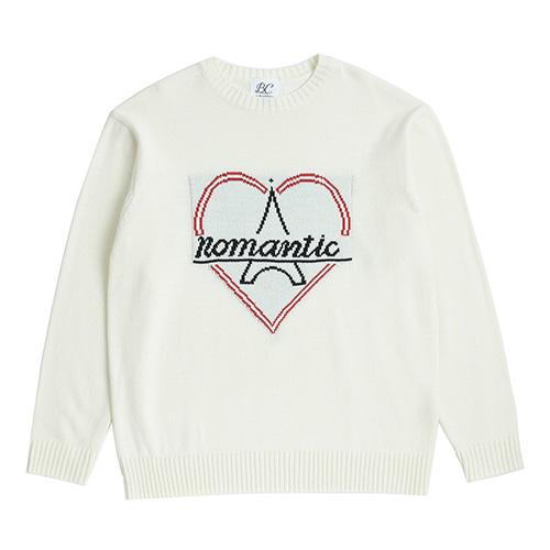 [PARIS EDITION]NOMANTIC BONJOUR LOGO KNIT IVORY