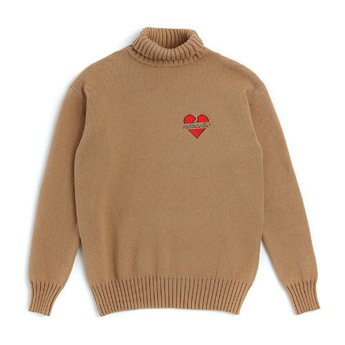NOMANTIC W-LOGO WOOL TURTLE-NECK KNIT BEIGE