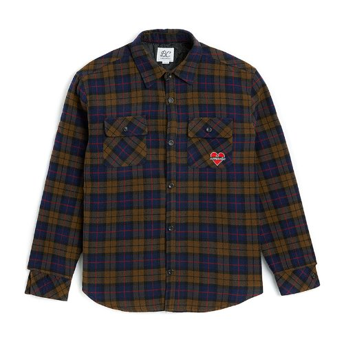 NOMANTIC LOGO OVERSIZE QUALITY CHECK SHIRTS BLUE