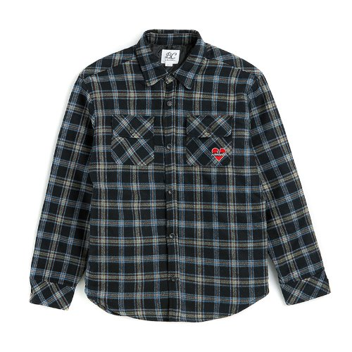 NOMANTIC LOGO OVERSIZE QUALITY CHECK SHIRTS BLACK