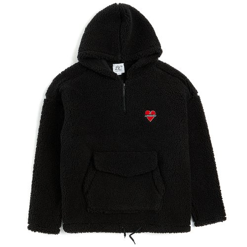 NOMANTIC F-FUR WINTER HOOD HALF ZIP-UP BLACK
