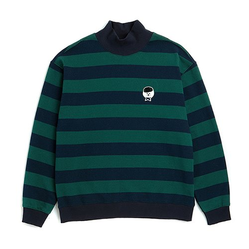 ILP STRIPE C-TURTLE-NECK T-SHIRTS GREEN