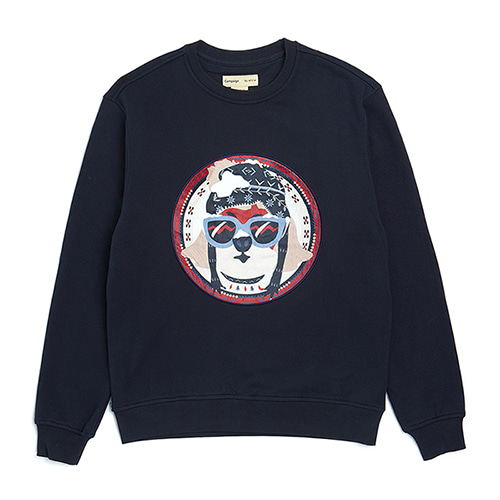 NORDIC SKI DOG PATCH SWEAT SHIRT NAVY
