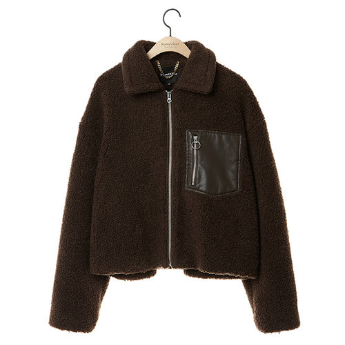 [COLLECTION LINE]FUR MIX LEATHER ZIP-UP JUMPER BROWN