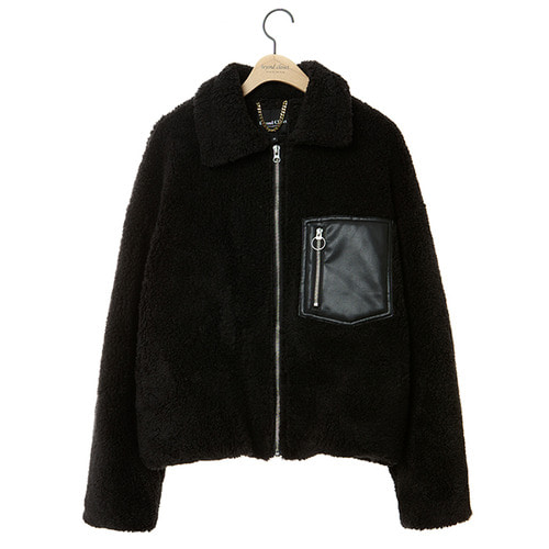 [COLLECTION LINE]FUR MIX LEATHER ZIP-UP JUMPER BLACK