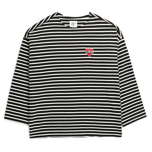 NOMANTIC OVERSIZE STRIPE T-SHIRTS BLACK