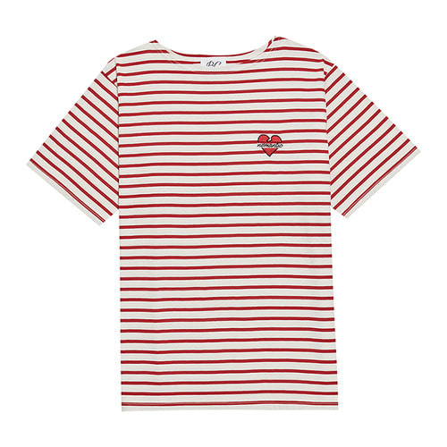 NOMANTIC SIGNATURE LOGO STRIPE 1/2 T-SHIRTS RED
