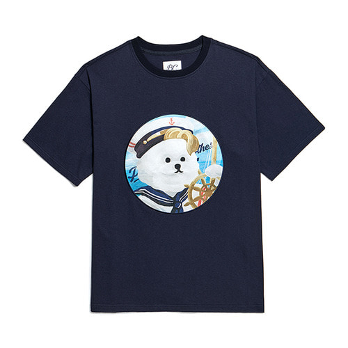 PINUP MARINE DOG PATCH 1/2 T-SHIRTS NAVY