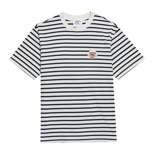 [L사이즈 추가]ILP MARINE DOG STRIPE 1/2 T-SHIRTS WHITE