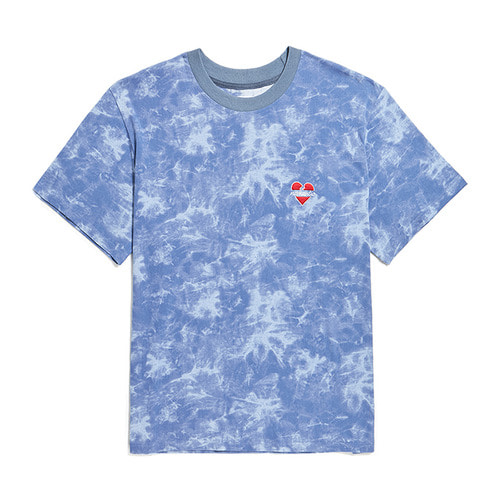 NOMANTIC SIGNATURE LOGO TIE-DYE 1/2 T-SHIRTS BLUE