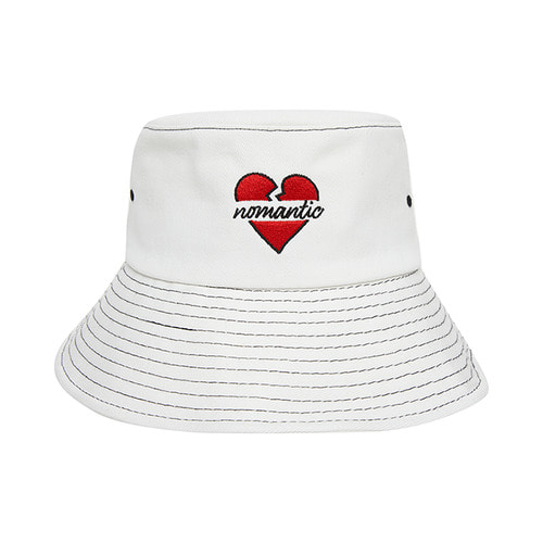 NOMANTIC SIGNATURE LOGO STITCH BUCKET HAT WHITE
