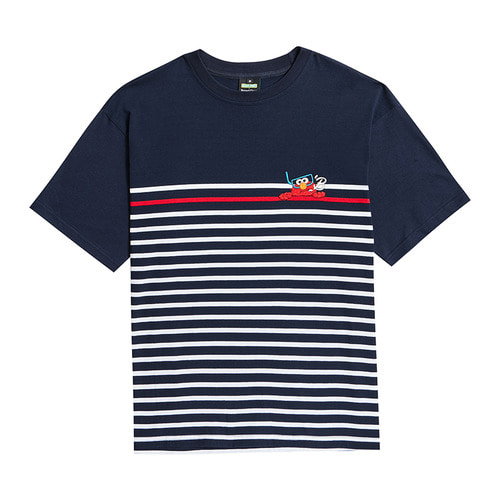 [B.C X S.S]HIDING ELMO STRIPE 1/2 T-SHIRTS NAVY