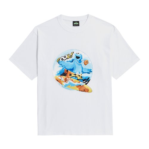 [B.C X S.S]COOKIE MONSTER SURFER PATCH 1/2 T-SHIRTS WHITE