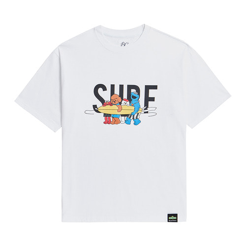 [B.C X S.S]SURFBOARD GRAPHICS 1/2 T-SHIRTS WHITE