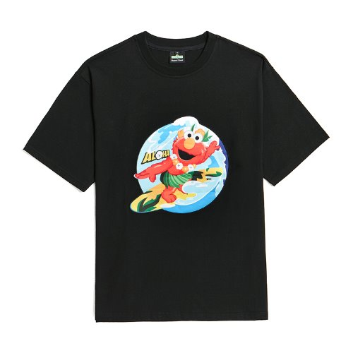 [B.C X S.S]ELMO SURFER PATCH 1/2 T-SHIRTS BLACK