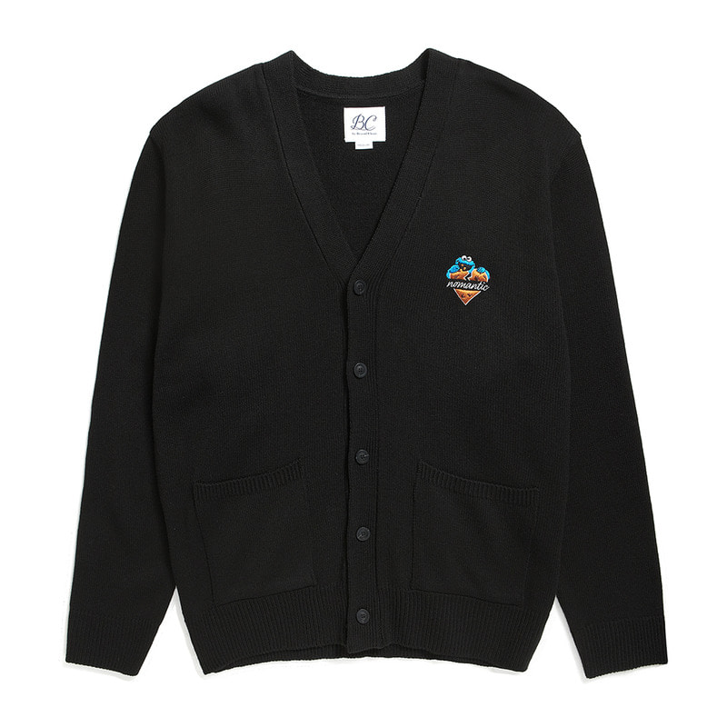 [B.C X S.S]COOKIE MONSTER HEART LOGO CARDIGAN BLACK