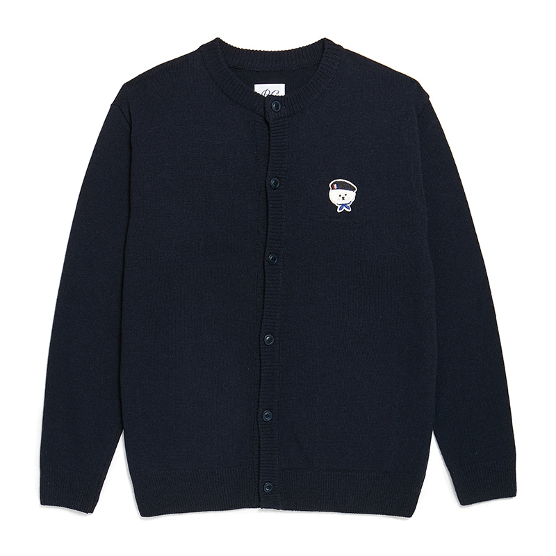 [9/30출고]ILP SIGNATURE PARIS LOGO ROUND KNIT CARDIGAN NAVY