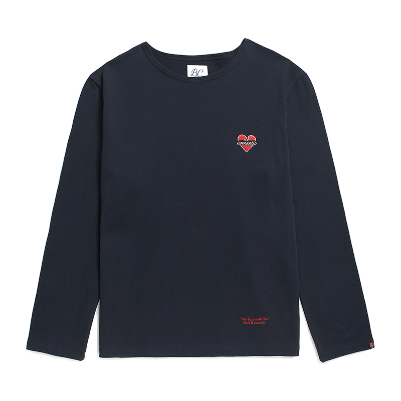 NOMANTIC LOGO BOAT NECK T-SHIRTS NAVY