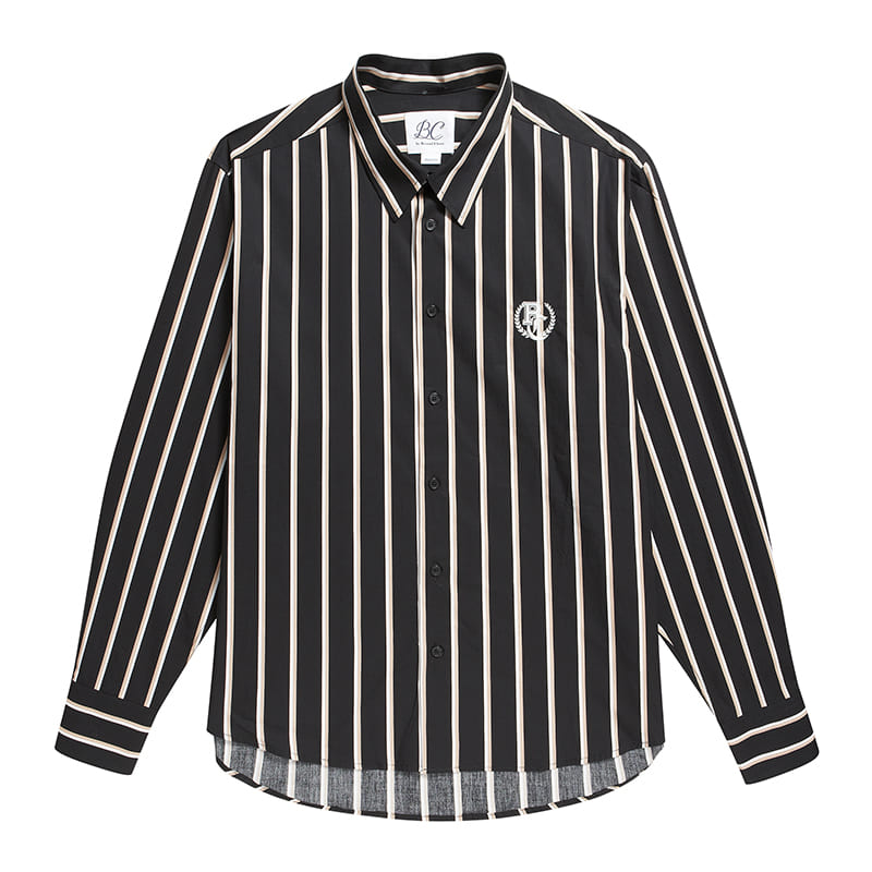 BC PREPPY LOGO MULTI STRIPE SHIRTS BLACK